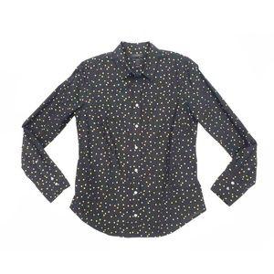 J. Crew Black Shirt in Heather Flannel Dots | 6